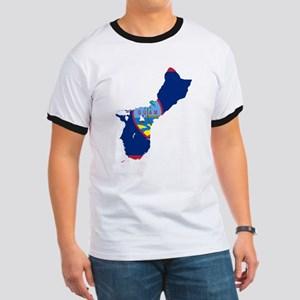 Guam Flag and Map Ringer T