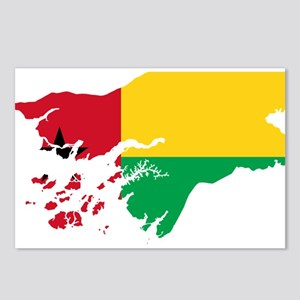 Guinea Bissau Flag and Map Postcards (Package of 8