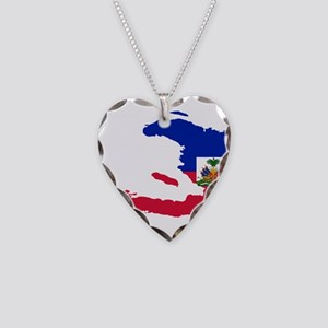 Haiti Flag and Map Necklace Heart Charm