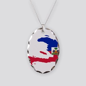 Haiti Flag and Map Necklace Oval Charm