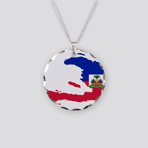 Haiti Flag and Map Necklace Circle Charm