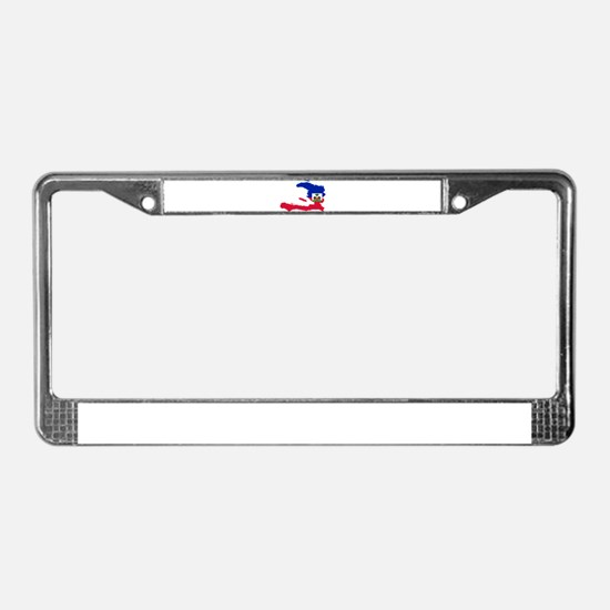 Haiti Flag and Map License Plate Frame