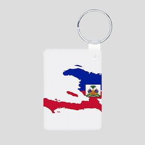 Haiti Flag and Map Aluminum Photo Keychain