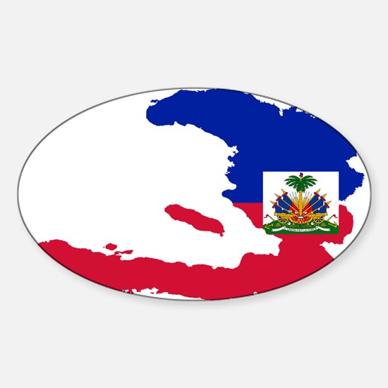 Haiti Flag and Map Sticker (Oval)