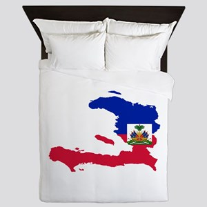 Haiti Flag and Map Queen Duvet