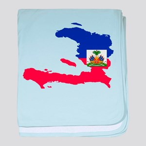 Haiti Flag and Map baby blanket