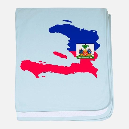 Haiti Flag and Map baby blanket