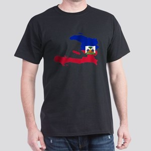 Haiti Flag and Map Dark T-Shirt