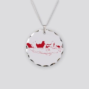 Indonesia Flag and Map Necklace Circle Charm