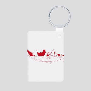 Indonesia Flag and Map Aluminum Photo Keychain