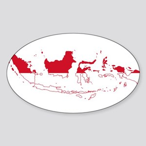Indonesia Flag and Map Sticker (Oval)