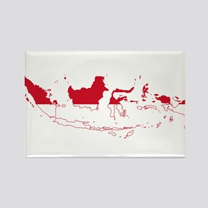 Indonesia Flag and Map Rectangle Magnet
