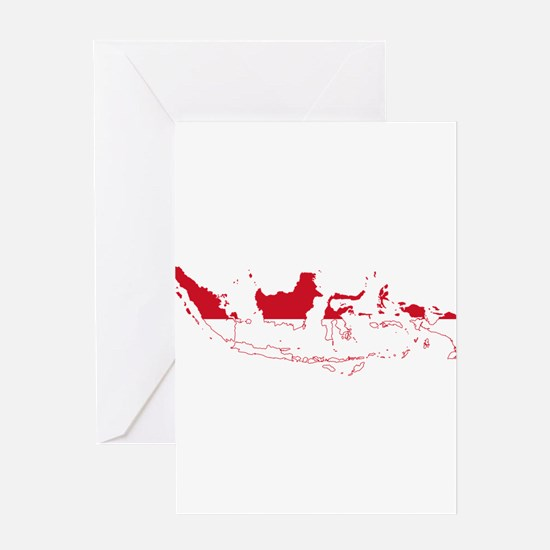 Indonesia Flag and Map Greeting Card