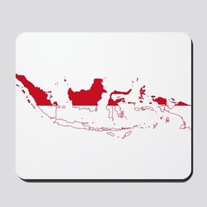 Indonesia Flag and Map Mousepad