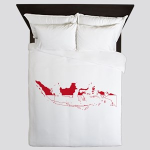 Indonesia Flag and Map Queen Duvet