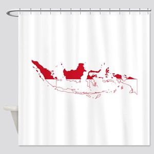 Indonesia Flag and Map Shower Curtain