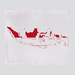 Indonesia Flag and Map Throw Blanket