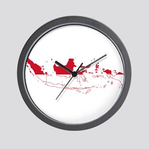 Indonesia Flag and Map Wall Clock