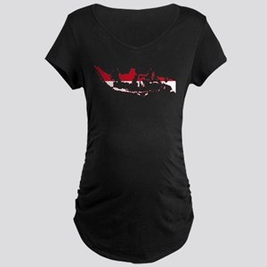Indonesia Flag and Map Maternity Dark T-Shirt