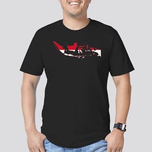 Indonesia Flag and Map Men's Fitted T-Shirt (dark)