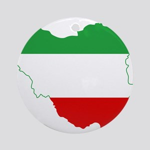 Iran Tricolor Flag and Map Ornament (Round)