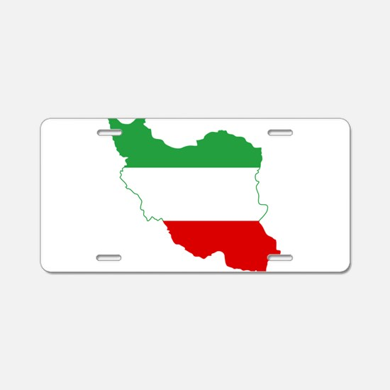 Iran Tricolor Flag and Map Aluminum License Plate