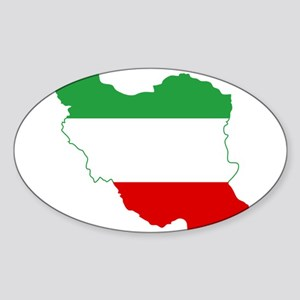 Iran Tricolor Flag and Map Sticker (Oval)
