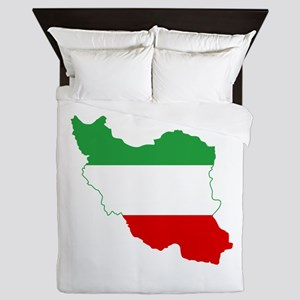 Iran Tricolor Flag and Map Queen Duvet