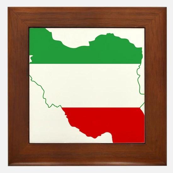 Iran Tricolor Flag and Map Framed Tile