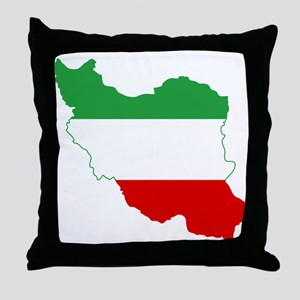 Iran Tricolor Flag and Map Throw Pillow