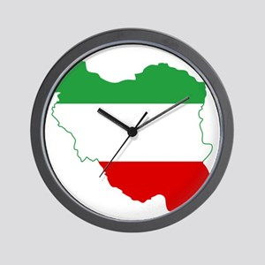 Iran Tricolor Flag and Map Wall Clock