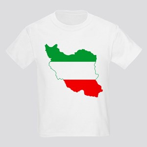 Iran Tricolor Flag and Map Kids Light T-Shirt