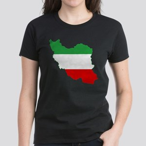 Iran Tricolor Flag and Map Women's Dark T-Shirt