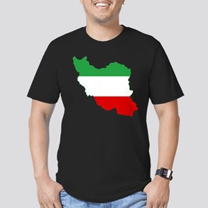 Iran Tricolor Flag and Map Men's Fitted T-Shirt (d