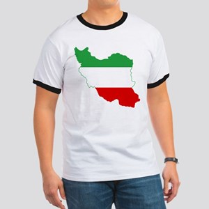 Iran Tricolor Flag and Map Ringer T