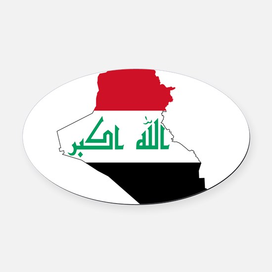 Iraq Flag and Map Oval Car Magnet