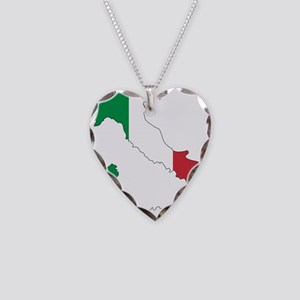 Italy Flag and Map Necklace Heart Charm