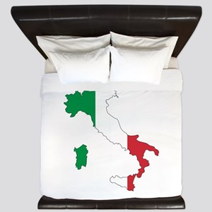 Italy Flag and Map King Duvet