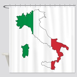 Italy Flag and Map Shower Curtain