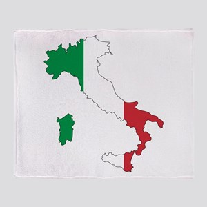 Italy Flag and Map Throw Blanket