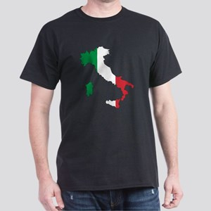 Italy Flag and Map Dark T-Shirt