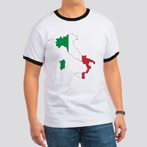 Italy Flag and Map Ringer T