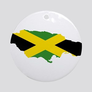 Jamaica Flag and Map Ornament (Round)