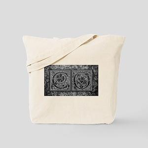 CO initials. Vintage, Floral Tote Bag