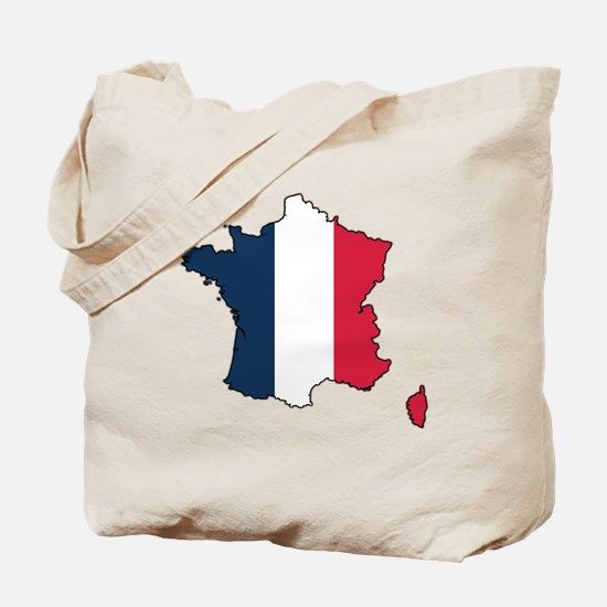 Flag Map of France Tote Bag