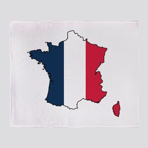 Flag Map of France Throw Blanket