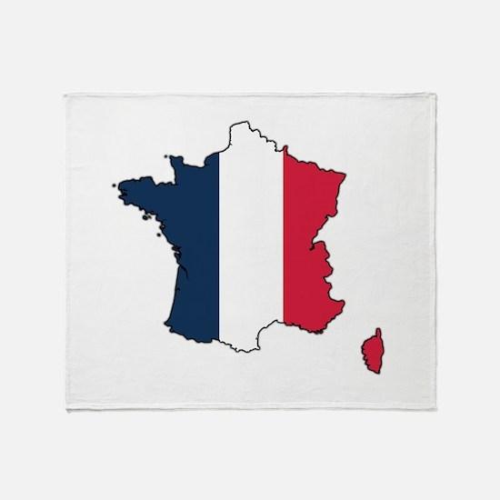 Flag Map of France Throw Blanket