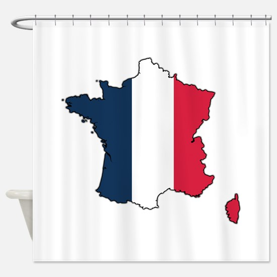 Flag Map of France Shower Curtain