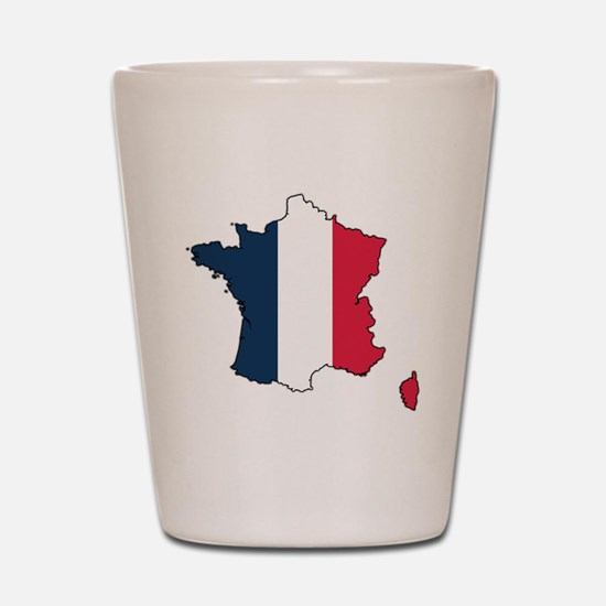 Flag Map of France Shot Glass