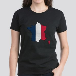 Flag Map of France Women's Dark T-Shirt